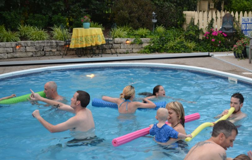 It's standing room only (with room for swimming) at the Bump Family pool.